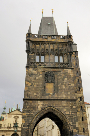 Tower at each end of Charles Bridge